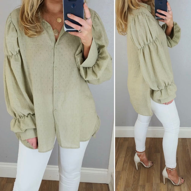 Puff Sleeve Shirt Olive