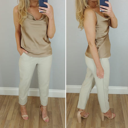 Bow High Waist Suit Trouser Cream