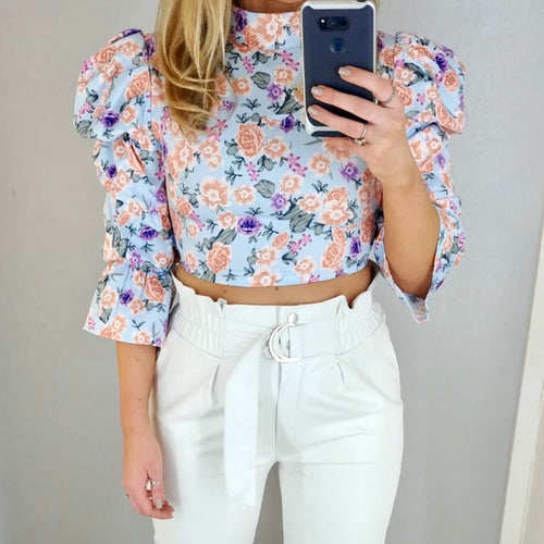 Puff Sleeve Floral Crop Blue