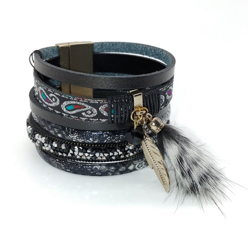 Black Aztec Feather Cuff