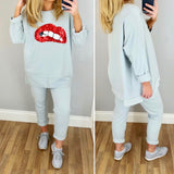 Lips Oversize Jersey Top Grey