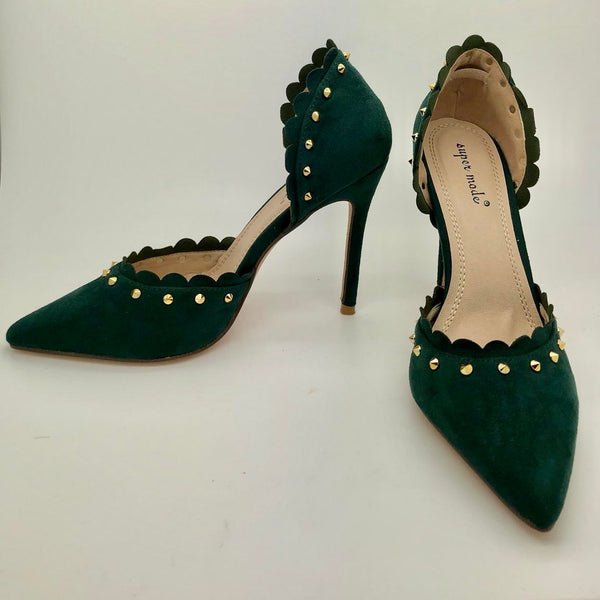 Green Suedette Studded Court Shoe