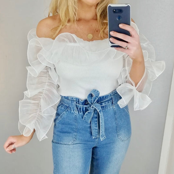 Ruffle Detail Knit Top White