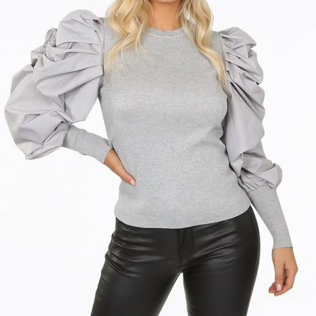 Tulle Sleeve T Shirt Black or White