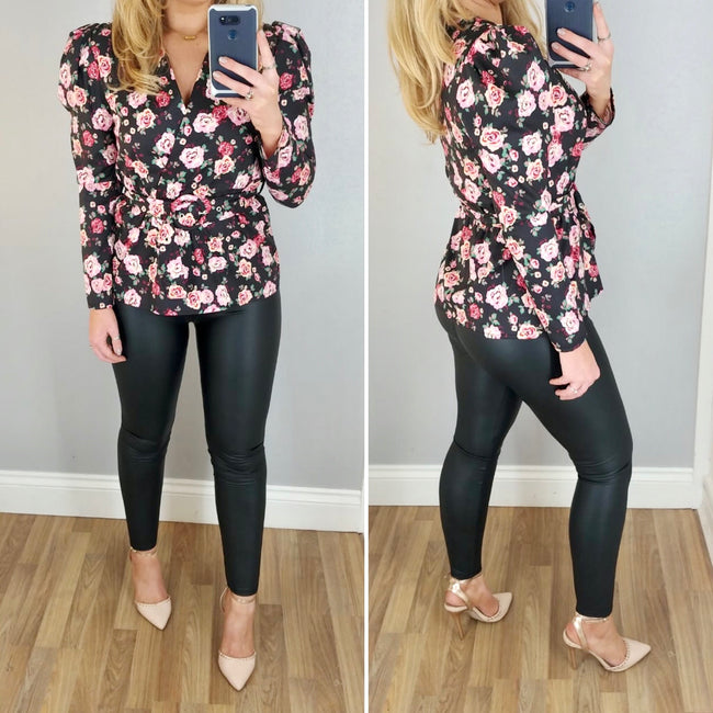 Belted Floral Top Black