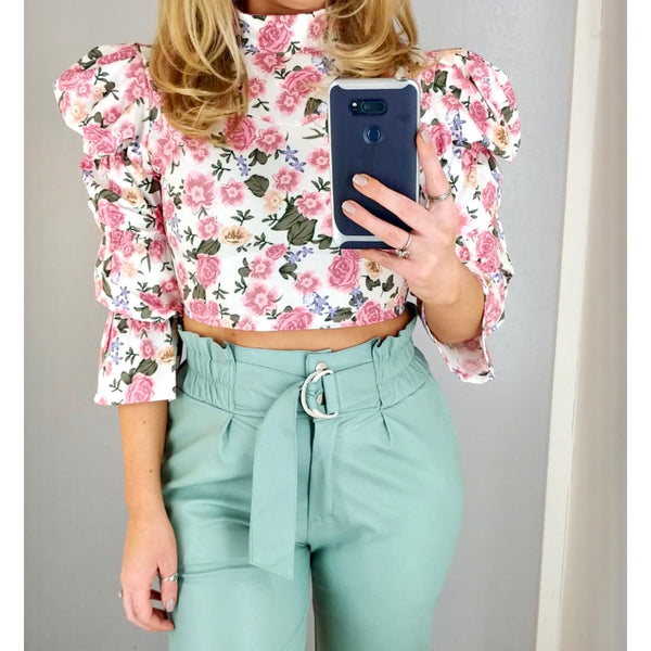 Puff Sleeve Floral Crop White