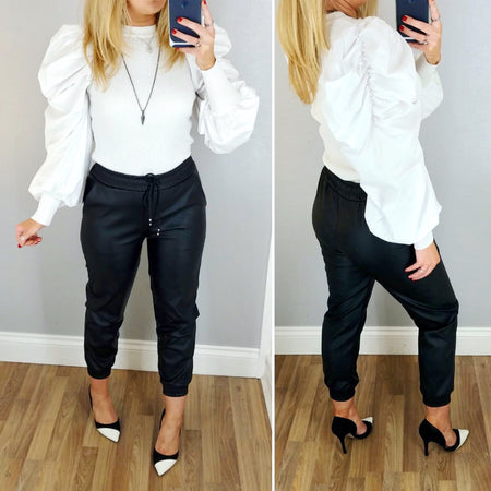 Leather Look Jogger White