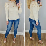 Ruffle Shoulder Knit Cream
