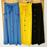 Button & Pocket Light Weight Skirt (Assorted Colours)