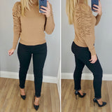 Rouched Sleeve Jumper Caramel