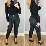 High Waist Leather Look Trousers Black