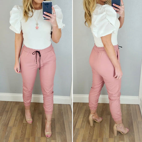 Leather Look Jogger Pink