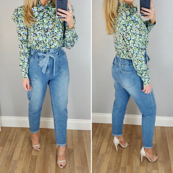 Floral Bow Blouse Green