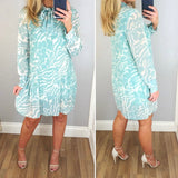 Pleat Print Bow Dress Mint