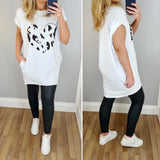 Leopard Heart T Dress White