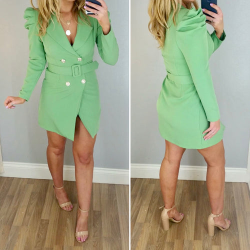 Puff Shoulder Blazer Dress Green