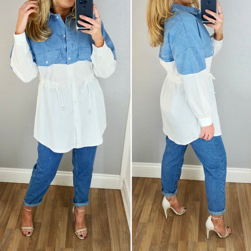 Denim Detail Drawstring Shirt