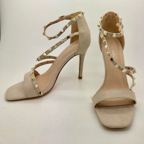 Nude Pearl & Stud Strappy Sandal