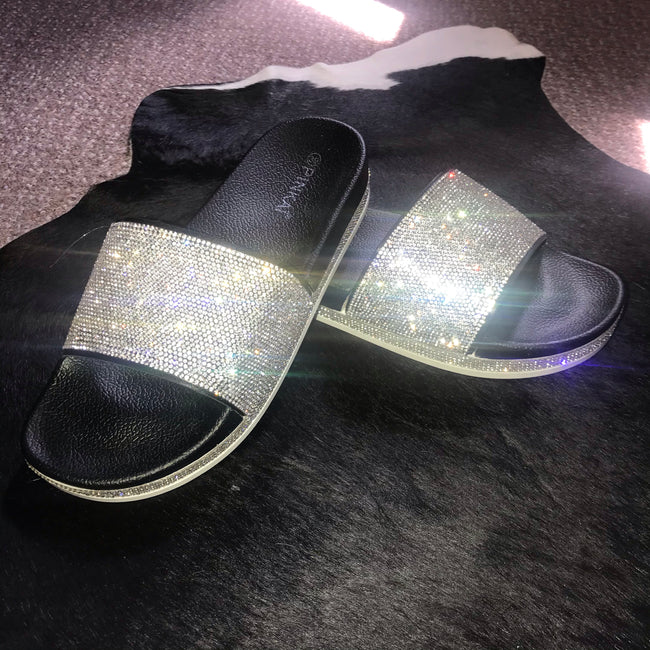 Diamanté Sliders BLACK