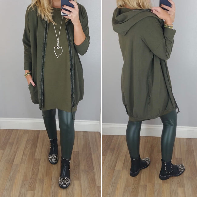 Metallic Trim Long Hooded Jacket