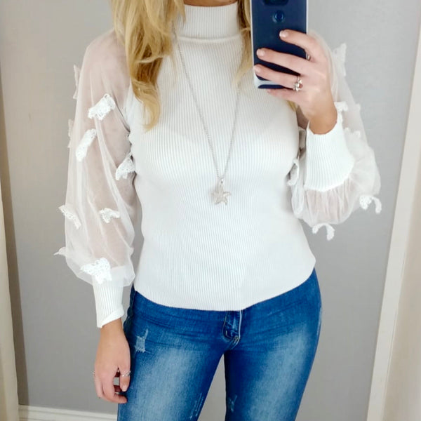 Butterfly Sleeve Jumper White