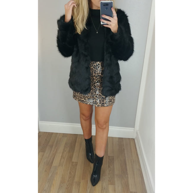 Zig Zag Faux Fur Coat Black