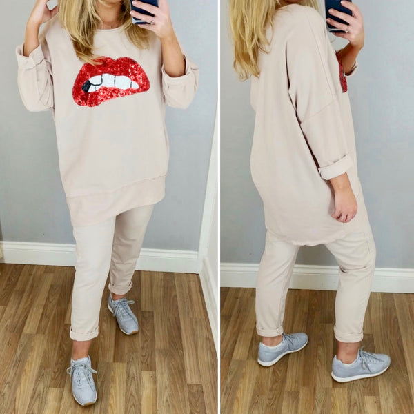 Lips Oversize Jersey Top Pink