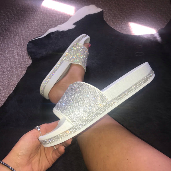 Diamanté Sliders WHITE