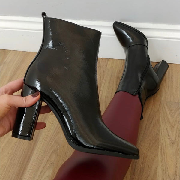 Patent Block Heel Boot