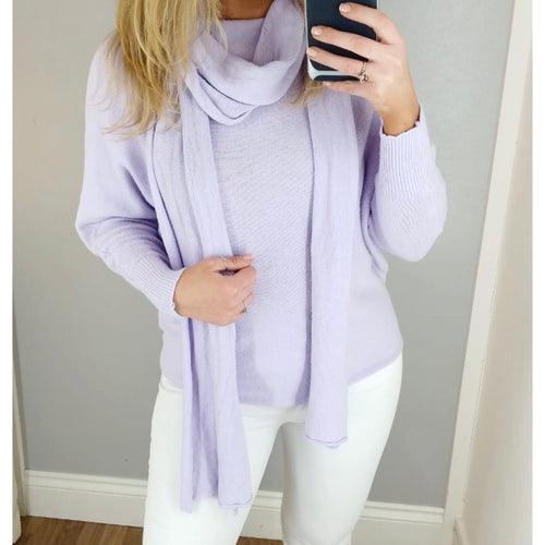 Soft Knit Batwing Jumper with Scarf Lilac