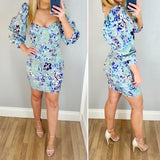 Puff Sleeve Floral Body Con Dress Mint