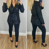 Sequin Tie Jacket Black