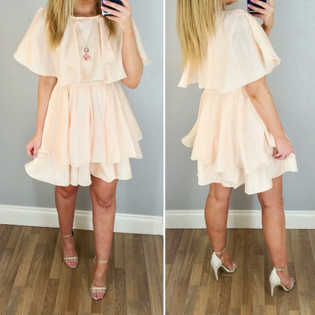 Beige High Neck Balloon Sleeve Skater Dress