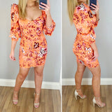 Puff Sleeve Floral Body Con Dress Orange