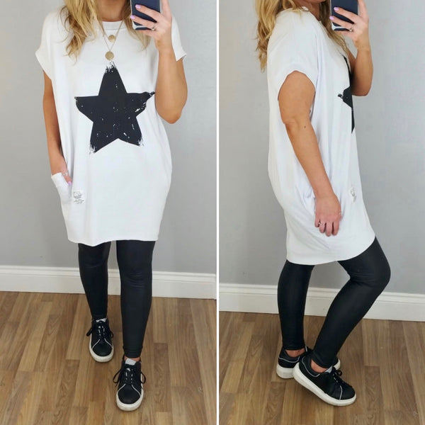 Brushstroke Star T Dress White