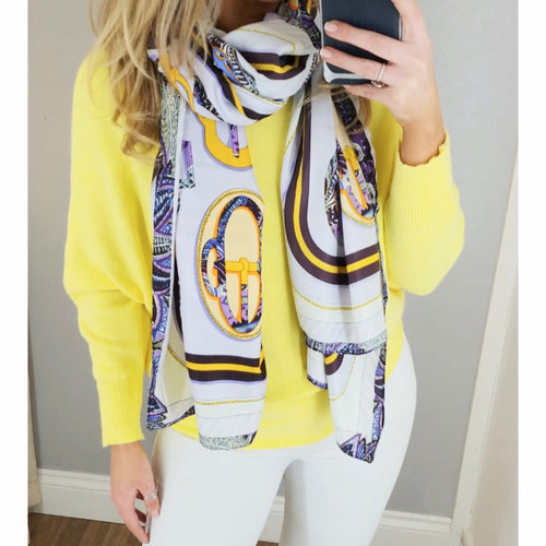 Lilac & Yellow Print Scarf
