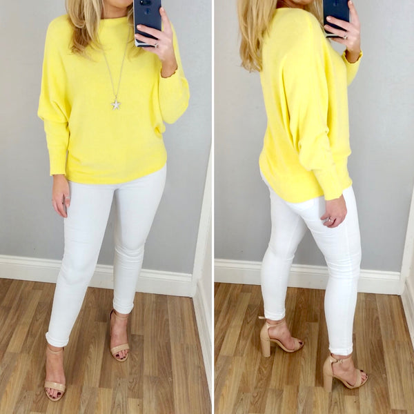 Soft Knit Batwing Jumper Yellow