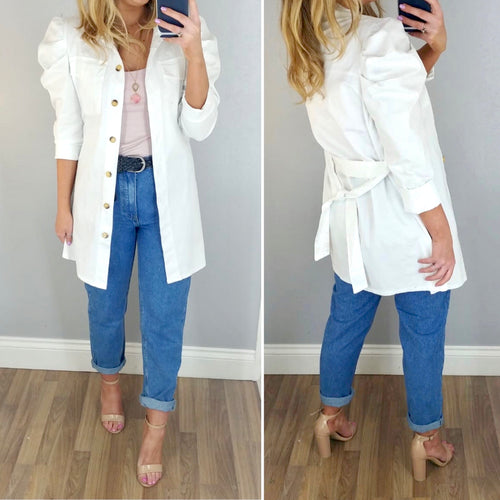 Puff Sleeve Shirt/Jacket White