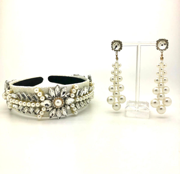 Pearl & Diamante Headband Earings