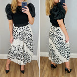 Spotty Pleat Skirt Cream