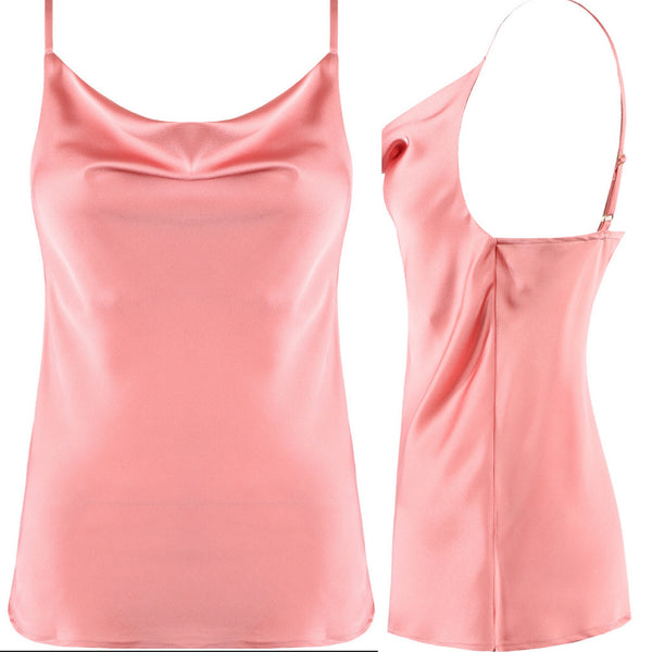 Pink Cowl Neck Satin Cami