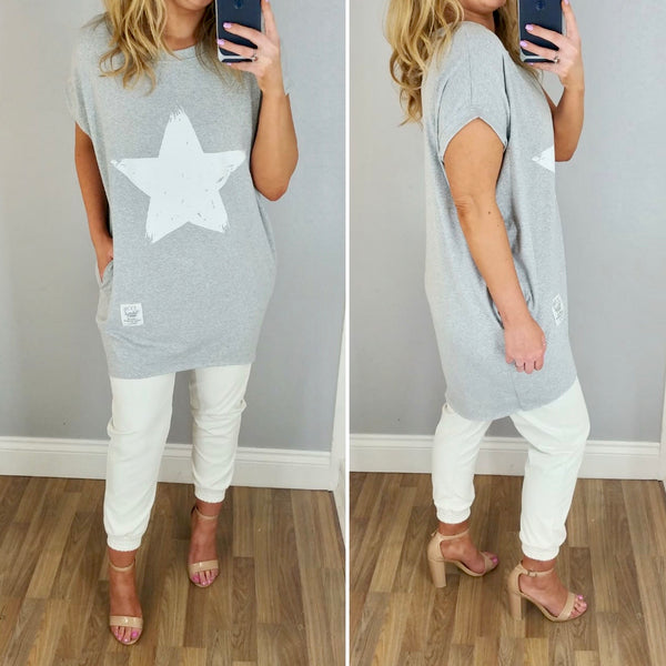 Brushstroke Star T Dress Grey