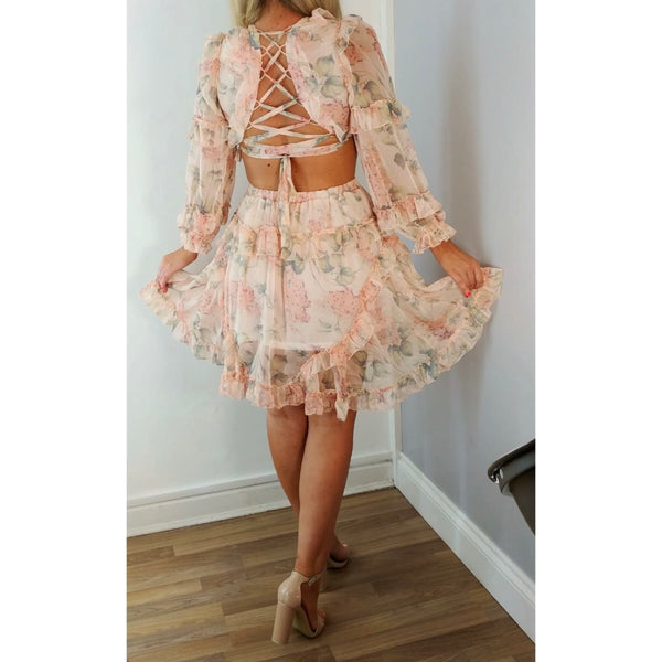 Cut Out Floral Frill Dress Peach