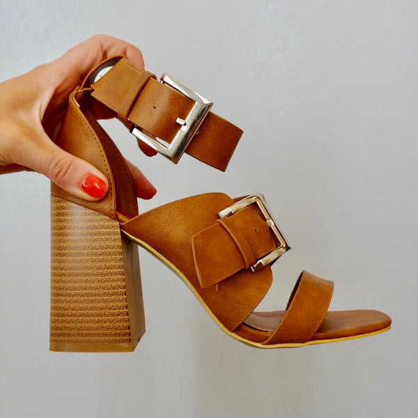 Tan Buckle Block Heel