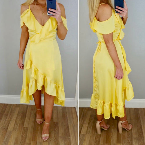 Yellow Satin Frill Wrap Dress