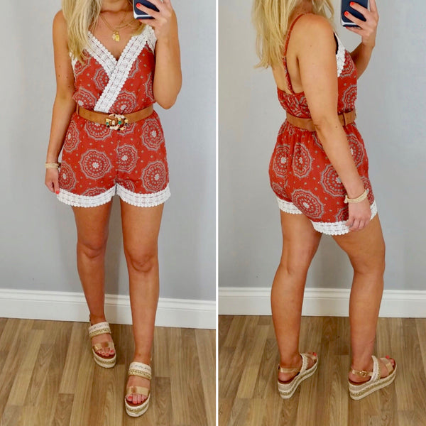 Rust Paisley Playsuit