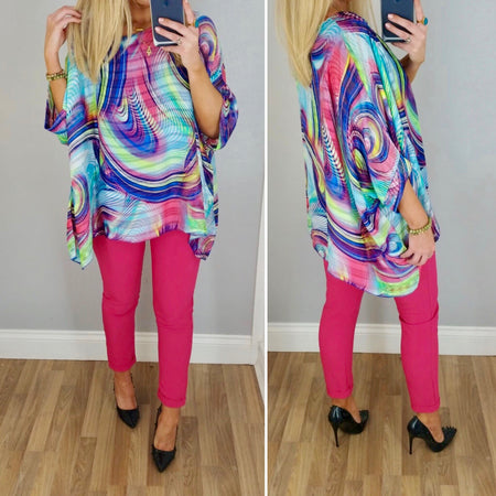 Brushstroke Batwing Top