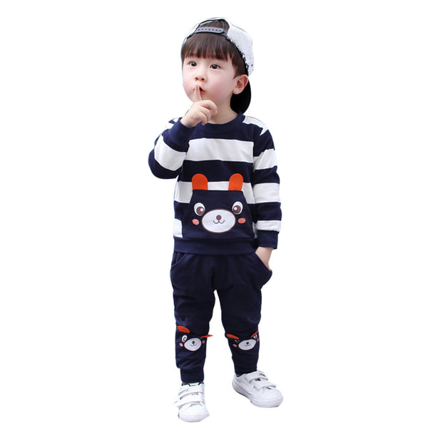 Kids striped bear top and pant set