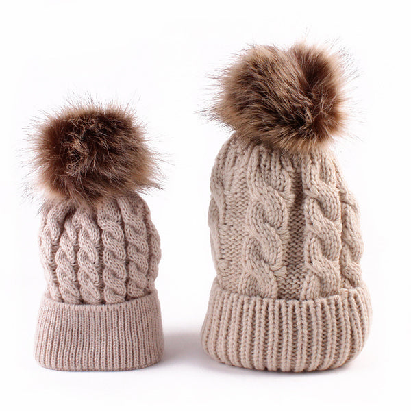 Mom and baby set of warm wool knitted hat