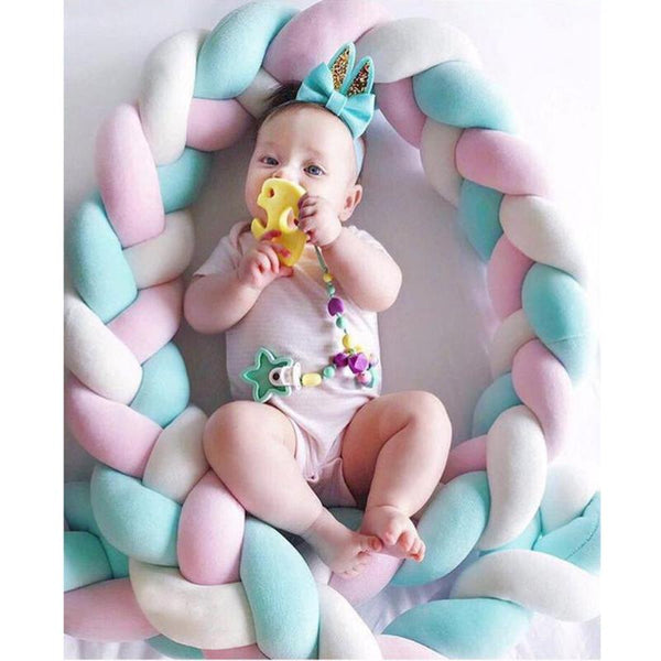 Baby Bed Bumper Weaving Rope Knot Crib Protector
